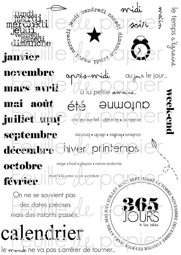 MATERIEL > Tampons > Marie-Laure Bollinger pour Feuille de papier > Collections N° 8 Au jour le jour MINI PRIX - Feuille de papier - Kits en...