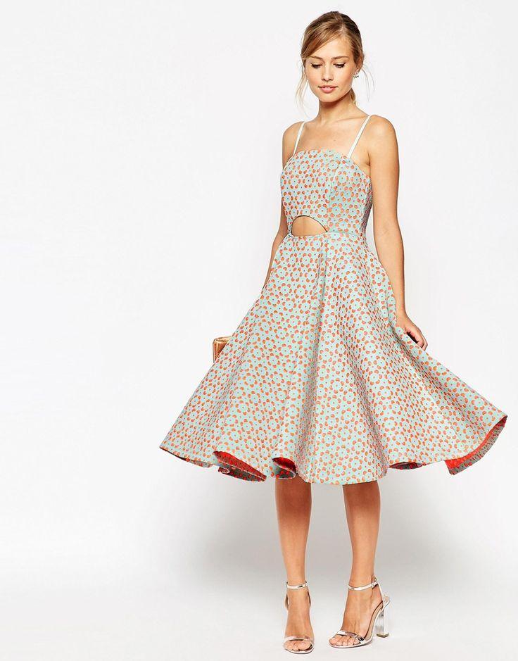 ASOS SALON Bandeau Laser Cut Cutout Midi Dress