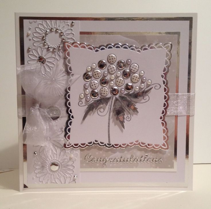 Silver Wedding Anniversary card using Woodware stamp, Marianne Designs Anja lace square and Darice embossing folder.
