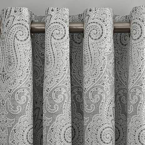 Grey India Lined Eyelet Curtain | Dunelm