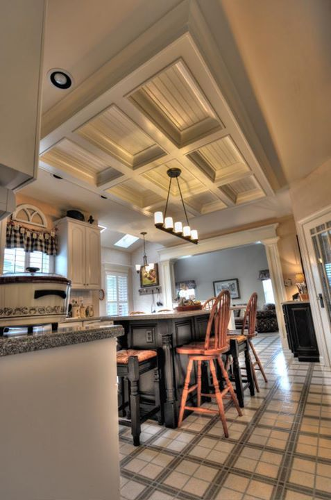 Trim detail how to bring out your home s character with trim kitchen coffered ceiling above - Wondrous kitchen ceiling designs ...