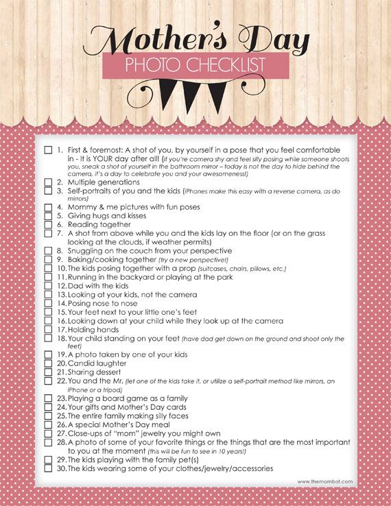 Mother's Day free printable photo checklist   TheMombot.com