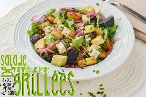 Salade de pommes de terre grillées, roquette et oignons marinés