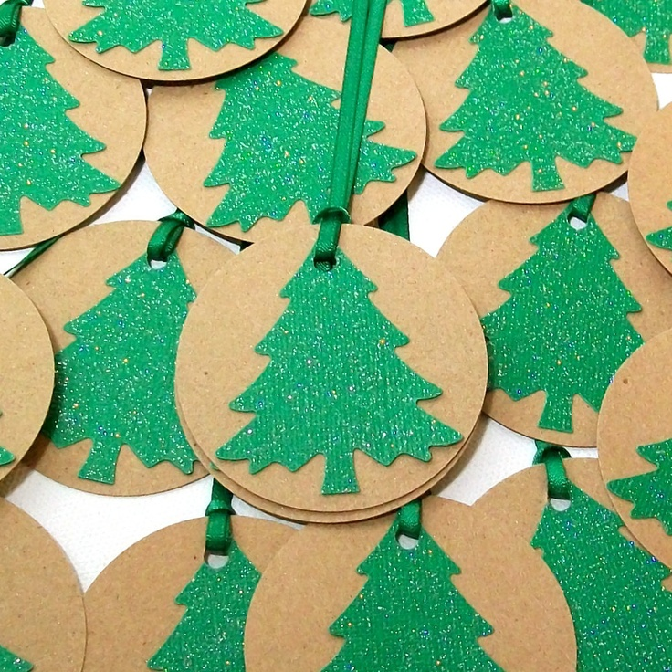 Handmade Christmas Tags with Ribbon- Green Glitter Christmas Trees (Set of 6). $4.50, via Etsy.