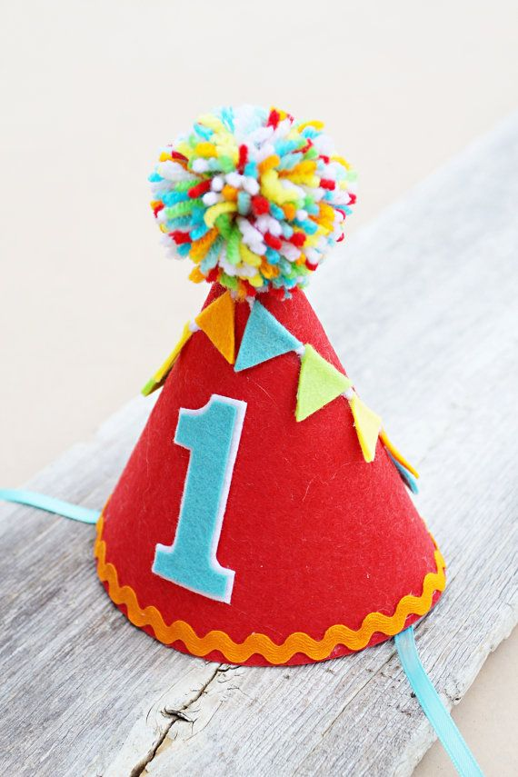 Boys 1st Birthday Party Hat Boys Felt Carnival by LaLaLolaShop