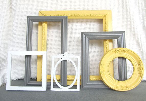 Yellow Grey/Gray White Vintage Ornate Frames Set of 6 by BeautiSHE