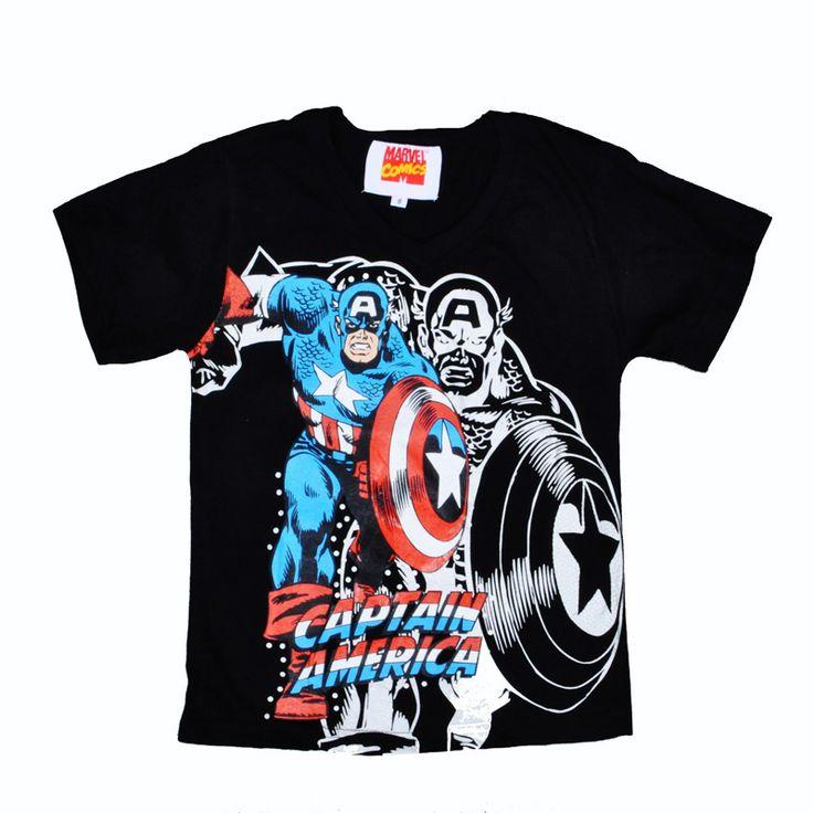 Captain America boy T-shirt boy clothes summer Short-sleeve big boy t shirt Animation Captain America Comics boy tops 2 style