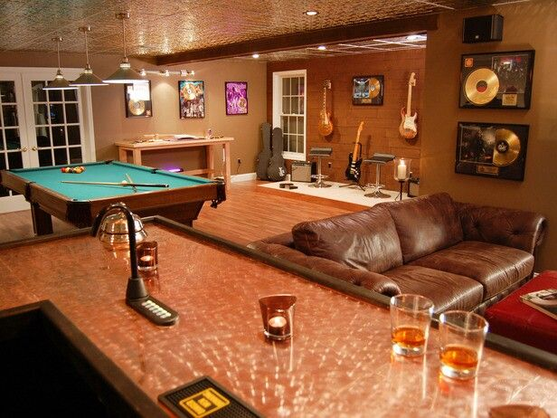 Music Wall, Pool, Bar With The Fountain. Man Caves   Pool Tables And Bars :  Home Improvement : DIY Network