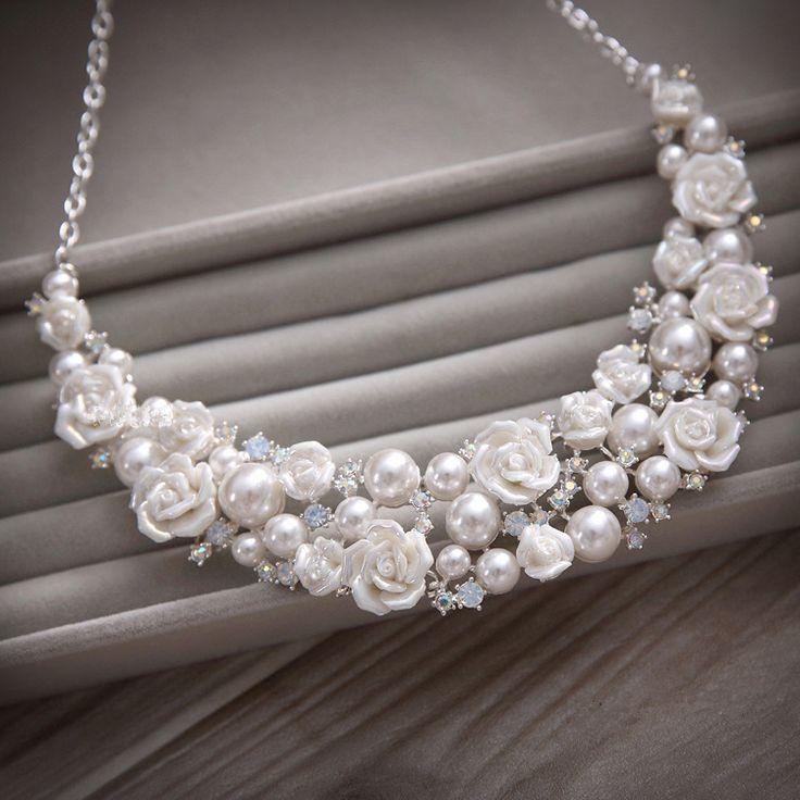 Корейский фарфор цветочные свадебные ювелирные изделия бриллиант короны тиара жемчужное ожерелье из трех частей свадебного платья свадебные аксессуары - Taobao