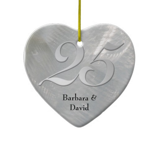 25th wedding anniversary ornament. faux brushed silver anniversary ornament 25th wedding n