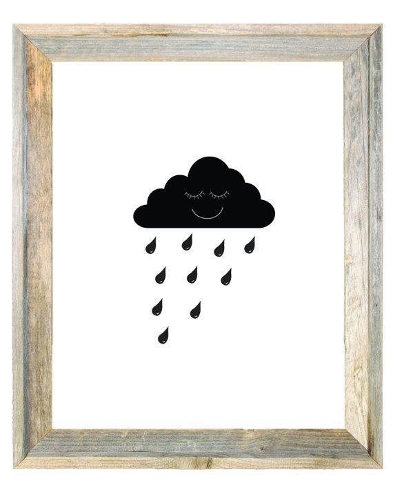 Monochrome Rain Cloud Raindrop Baby Blue Grey by IslaKateDesigns