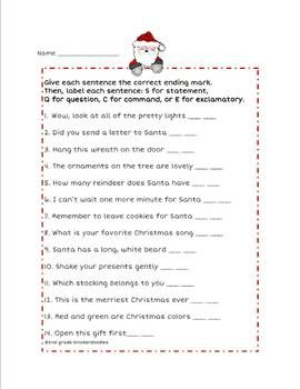 4 types of sentences: a Christmas FREEBIE from 2nd grade Snickerdoodles