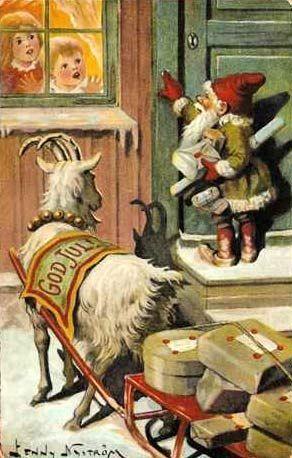 """""""Er det noen snille barn her?"""" Vintage Xmas card from http://www.sugarplumdairy.com  #goatvet  An excellent goat sled"""