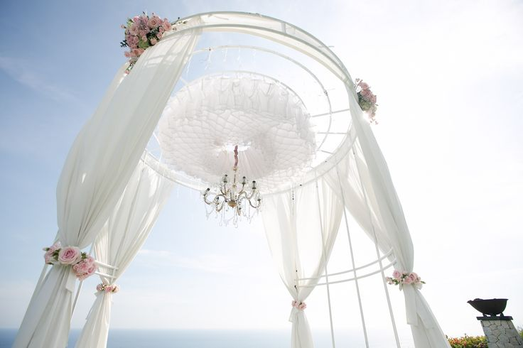 Drapes tied with Blush Pink Roses - miniature Bouquet