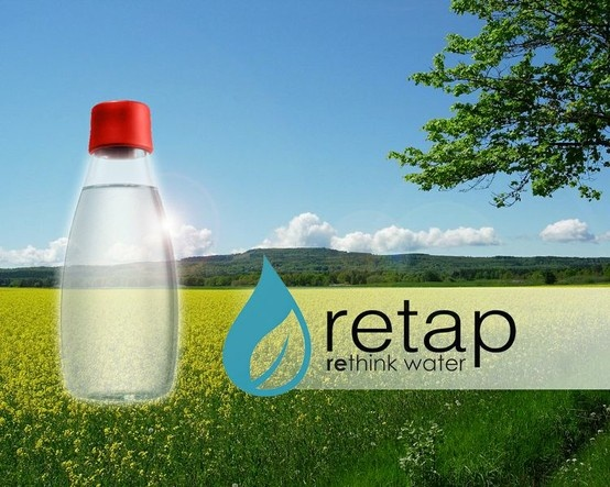 Retap stands for refilling with tap water. Why spend up to 2000 times the actual cost for water? Why buy water in harmful plastic bottles when you can easily refill your Retap bottle? The Retap bottle is a clean, eco-friendly and cost-efficient alternative to bottled water.