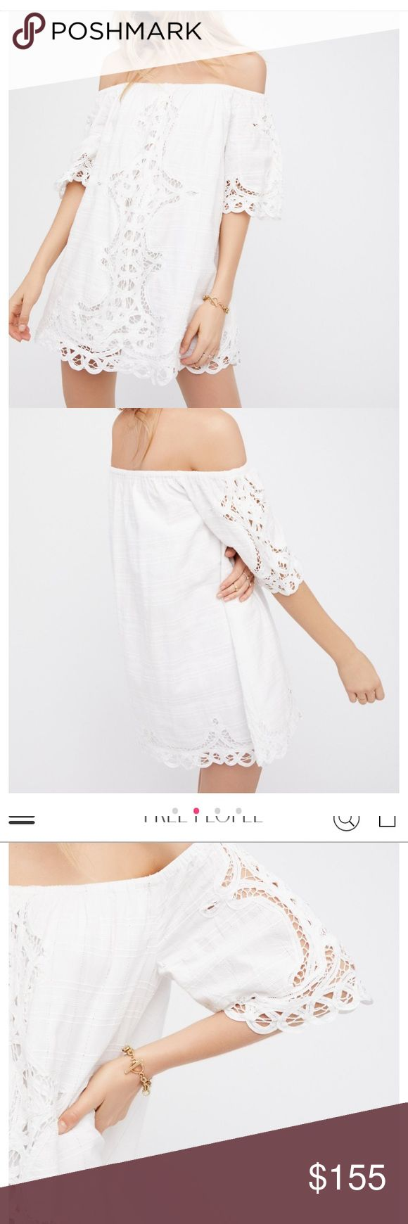 White lace free people mini dress Battenburg free people lace dress size large. Stunning Free People off the shoulder mini. I wore once to a white party and had professionally cleaned. I did not love the dress on me as I hate off the shoulder but I needed a white dress for the event. I paid $168 before taxes and shipping. Perfect for bridal rehearsal or going away dress Free People Dresses Mini