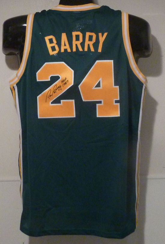 Rick Barry 5xAll-NBA First Team, 4xAll-ABA First Team, NBA Finals MVP, NBA All-Star MVP, NBA Rookie Of The Year (Photo of signed Rick Barry Oakland Oaks ABA jersey)