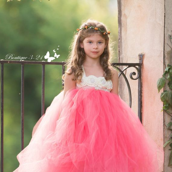 Coral Flower Girl Dress Coral tutu dress Coral by Boutique321