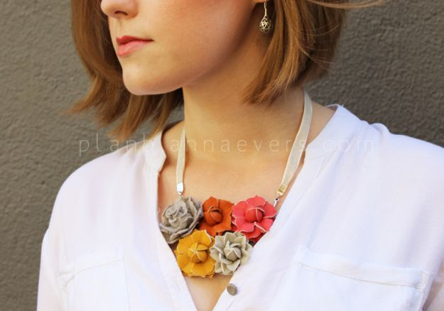 DIY Leather floral necklace
