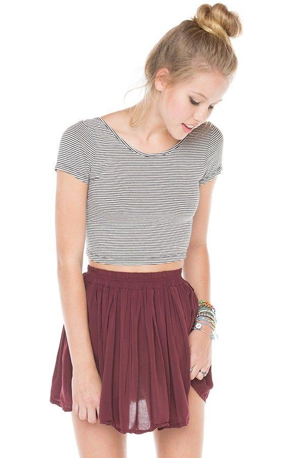 Brandy ♥ Melville | Luma Skirt Maroon Skirt & Striped Crop Top & Messy Bun/Top Knot