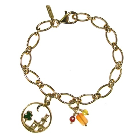 Gerochristo Gold plated sterling silver and Hand Painted Enamel Made in Greece