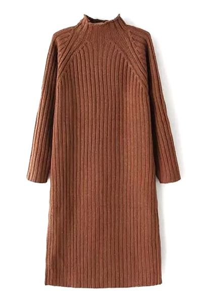 Solid Color Stand Neck Long Sleeve Sweater Dress