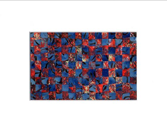 Small Art Weaving in Red and Blue Wall Decor Abstract Art