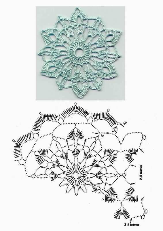 Elegant Crochet Motif with pattern chart. There are loads of beautiful motif patterns on site, in all shapes & patterns !!!
