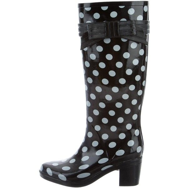 Pre-owned Kate Spade New York Polka Dot Rain Boots ($50) ❤ liked on Polyvore featuring shoes, boots, black, black shoes, black wellington boots, wellington boots, kate spade boots and rain boots