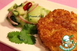 Куриные нагетсы в кокосовой панировке с острым огуречным салатом