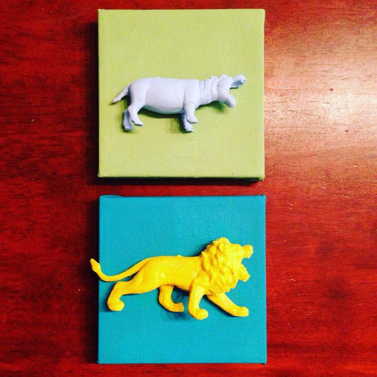 3D bilder av dyrefigurer og små lerret