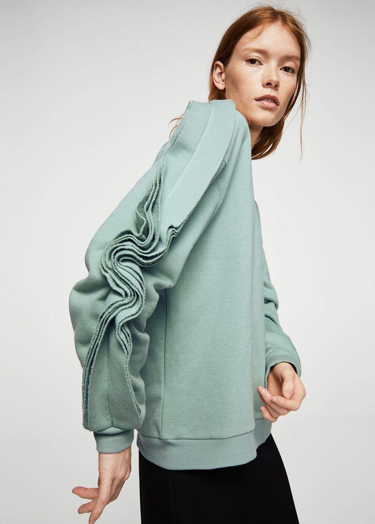Ruffled sleeves sweatshirt | MANGO