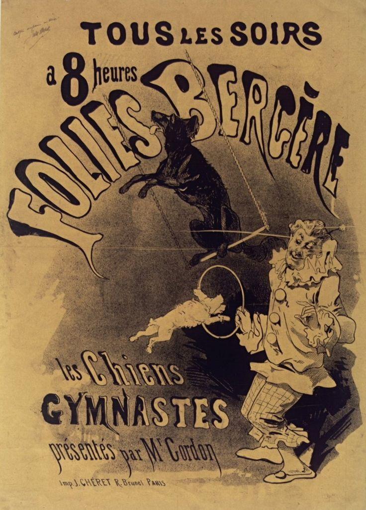 1874, Jules Chéret, Les chiens gymnastes, Folies-Bergère, Paris (Bibliothèque nationale de France) [Jules Cheret, Folies Bergere, Жюль Шере, Фоли-Бержер]