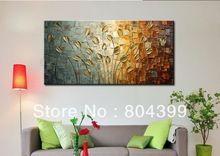 El boyalı palet bıçak boyama altın çiçek duvar sanatı ev dekorasyonu soyut ağaç boyama satılık boyutu 50x100cm( çerçeve)(China (Mainland))