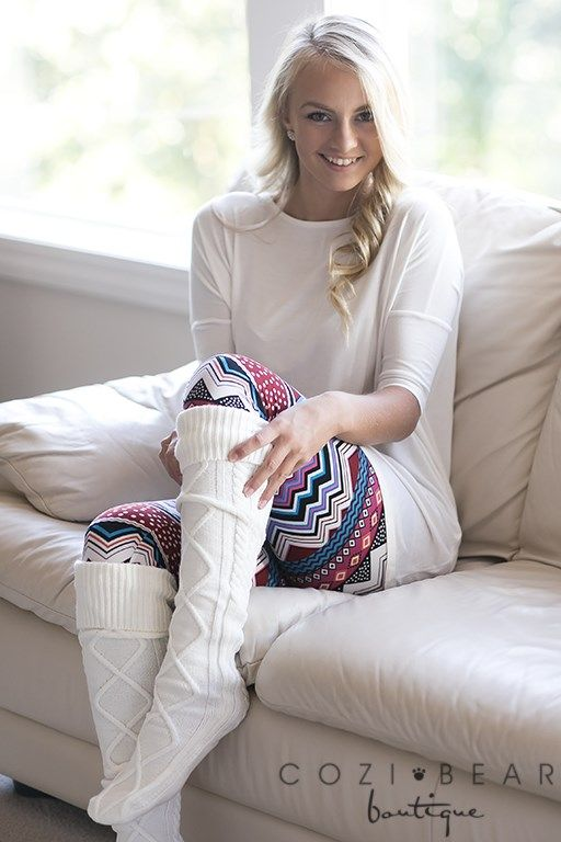 Aren't our thigh high cable knit socks adorable? They're thick and comfy and perfect for this winter season! They are great stretched up to the thigh or slouch them down under your knee.