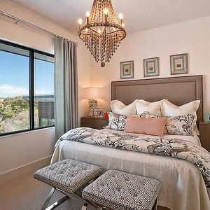 Glynis Wood Interiors - bedrooms - white walls, white wall color, wall to wall carpet, beige carpet, beige carpeting, blue floor length drapes, white sheets, white euro shams, pink pillow, taupe nightstands, taupe bedside table, seashell table lamp, shell table lamp, silver leaf framed art.