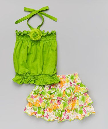Another great find on #zulily! Lime Halter Top & Floral Skirt - Toddler & Girls #zulilyfinds