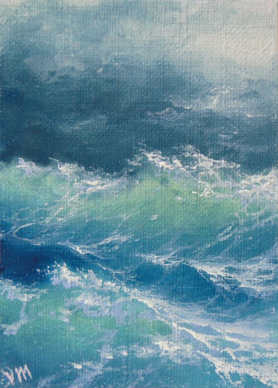 Mesheryakov ACEO ORIGINAL Impressionism Fine Art OIL PAINTING Boiling Ocean | eBay