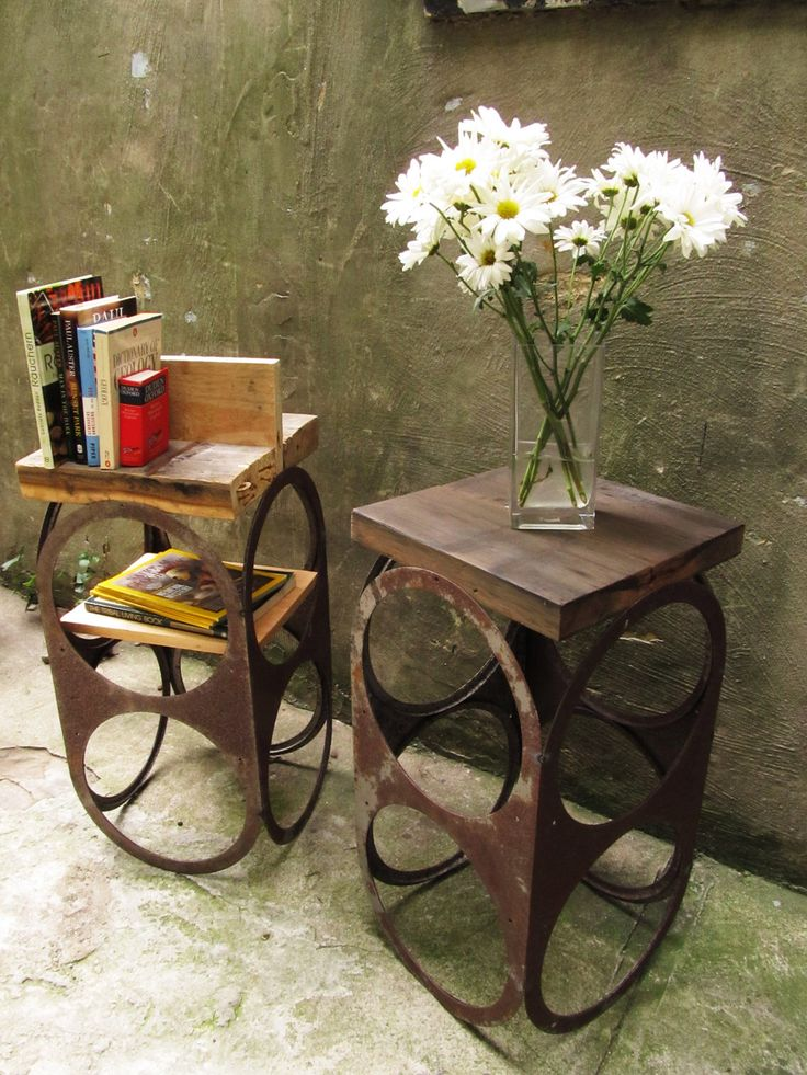 Wood And Metal Bedside Table: Custom Narrow Bedside Table Nightstands Made From Salvaged