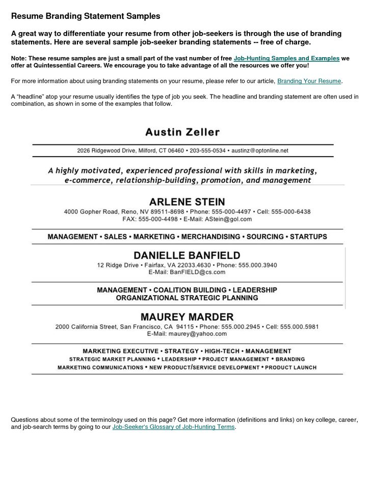 Best 25+ Personal brand statement examples ideas on Pinterest - sample summary statements for resumes