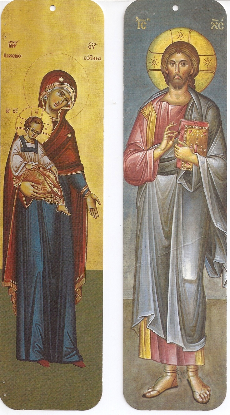 Icons of mother Mary and Jesus for bookmarks