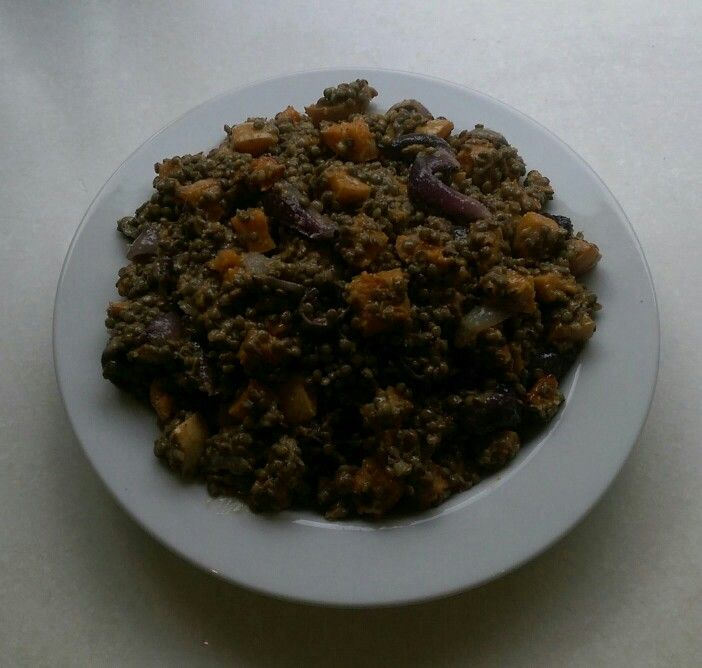 Puy lentils with butternut squash and roast red onions.