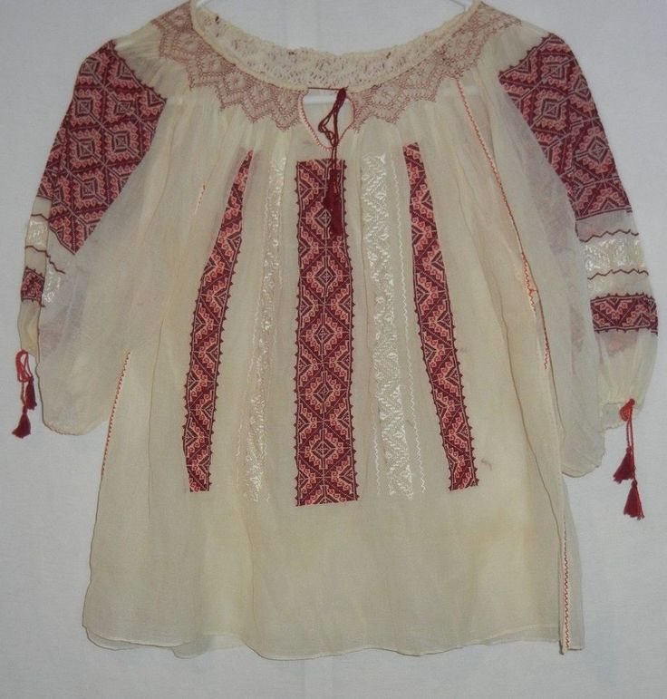 Vintage 30s/40s Romanian Embroidered Gauze Peasant Blouse Top 1940s 1930s S #none #Casual