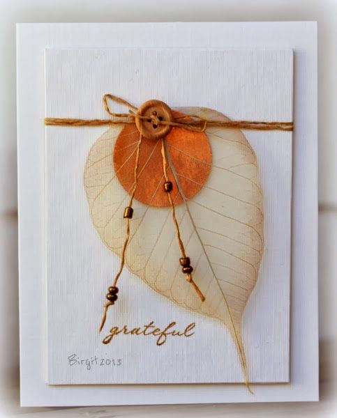 handmade Thanksgiving card ... clean and simple ... skeleton leaf ... linen thread with copper beads ... beautiful!