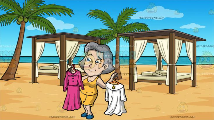 A Mature Woman Confused On Which Dress To Wear At Luxury Cabanas On A Beach:  A woman with gray hair wearing a yellow tank top and skirt teal shoes cringes in frustration as she is having a hard time to choose between a pink dress on a red hanger in her right hand or a white dress on an orange hanger in her left hand. Set in two cabanas with elegant brown wooden poles and flat roofing white linen curtains a bed with off white mattress and throw pillows spaced appropriately on the beach sands…