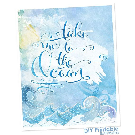 Take Me To The Ocean - Water lover. Pieces.  8x10 Printable Wall Art Instant #printable #wallart