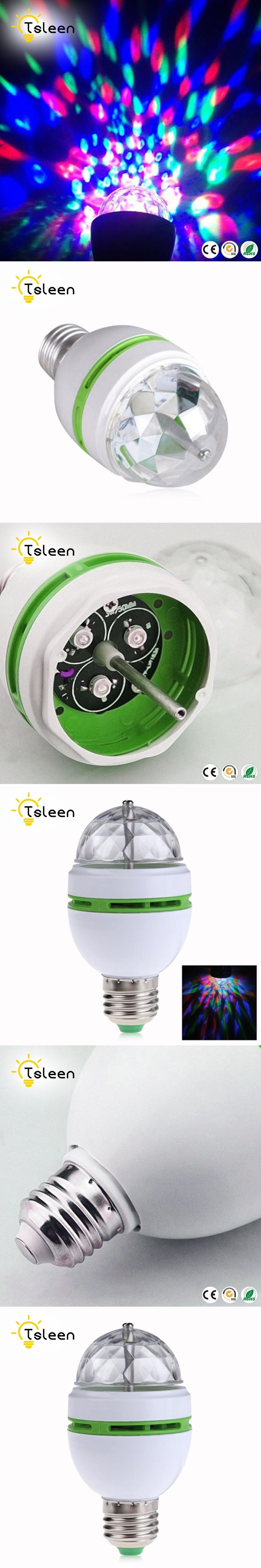 TSLEEN E27 3W RGB Crystal Auto Rotating LED Bulb Stage Light Disco DJ Party Lamp Holiday Bulb With Convertor Holder Socket Base