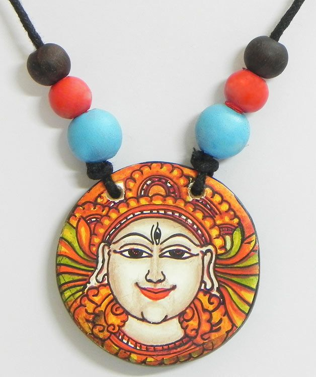 Pendant with mural painting of shiva terracotta for Mural jewellery