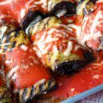 Gegrilde aubergine rolletjes met ricotta - Vertruffelijk