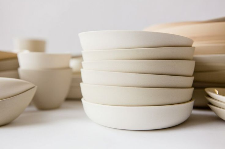 A stack of the Vizira side plates made of porcelain. (Organic Porcelain Ware from Montreal by Lisa Michaels) #ceramics